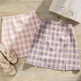MUMU【P78405】粉嫩格紋A字短裙。粉/紫。S-L