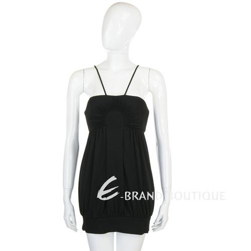 CLASS roberto cavalli 黑色百褶細肩帶短版洋裝 0920078-01