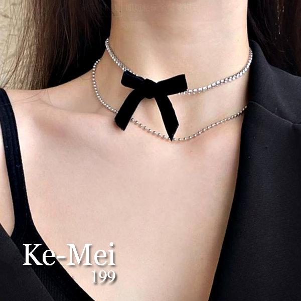 克妹Ke-Mei【AT65443】choker小清新名媛黑色精緻蝴蝶結水鑽雙層頸鍊