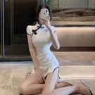 旗袍洋裝 2021年春秋季新款氣質改良版貼身旗袍性感修身高開叉短裙連身裙女