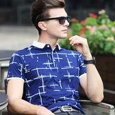 短袖Polo衫衣服男短袖t恤男士翻領絲光棉polo衫休閒男裝修身 貝兒鞋櫃