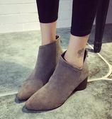 丁果、靴子35 39 ►英倫風磨砂尖頭短靴2 色