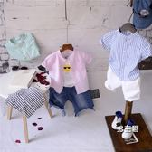 男童短袖襯衫兒童棉麻短袖襯衫男童豎條紋襯衣2018夏季新品中小童寶寶立領上衣(中秋烤肉鉅惠)
