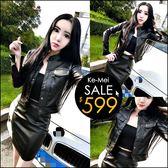 克妹Ke-Mei【ZT48217】歐美時尚街頭立領帥氣皮質外套+短裙套裝