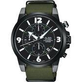 ALBA 雅柏 ACTIVER 系列活力運動計時手錶-黑x綠/44mm VD57-X089U(AM3401X1)