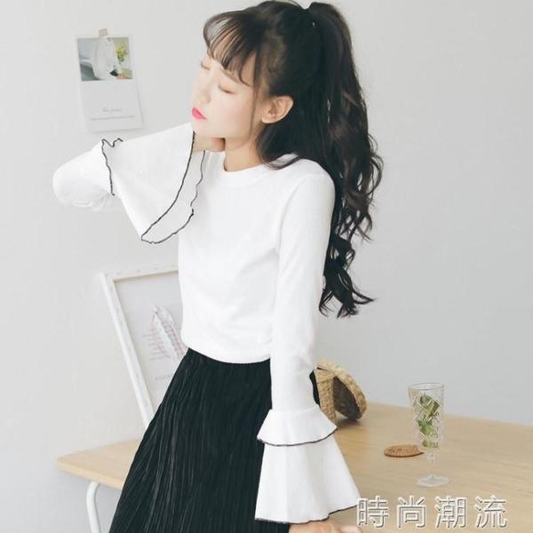 喇叭袖長袖t恤女學生新款女裝內搭上衣打底衫白色初秋潮網紅 時尚潮流