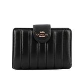 【COACH】皮革縫線設計馬車Logo壓釦中夾(黑色) C3454 IMBLK
