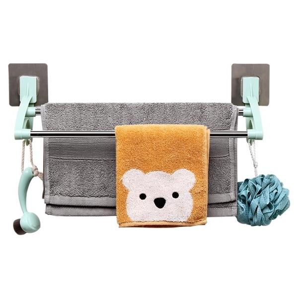 雨露毛巾架免打孔晾桿的掛架衛生間抹布架黏膠式掛布浴室掛鉤雙NMS快意購物網