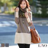針織衫韓風羅紋雙口袋休閒寬鬆長版上衣LIYO理優E747020