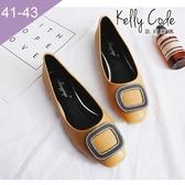 大尺碼女鞋-凱莉密碼-春夏新款水鑽方扣好穿寬楦方頭平底鞋1cm(41-43)【BP3-1】黃色