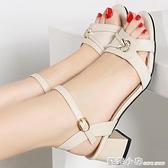足意爾康新款女鞋真皮粗跟中跟涼鞋女夏百搭軟底時裝媽媽鞋 蘇菲小店