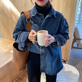 2021早春新款韓版設計感小眾加厚牛仔襯衫女寬鬆百搭長袖翻領 【快速出貨】