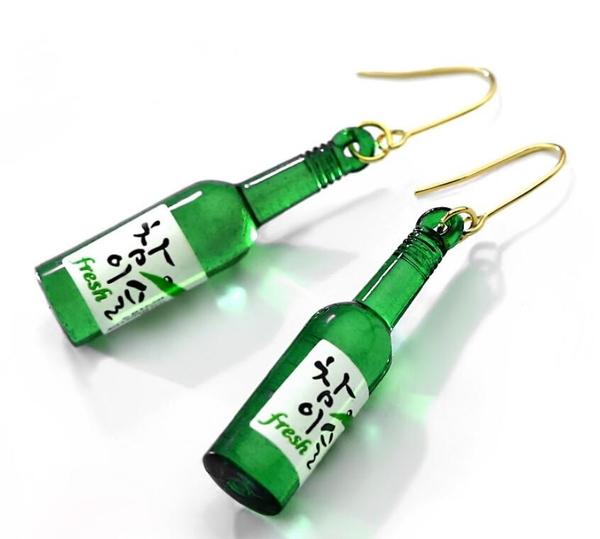 流型酒瓶耳環