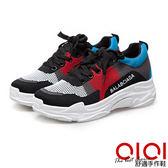 休閒鞋 針織撞色綁帶內增高休閒鞋(紅)*0101shoes【18-0608r】【現+預】
