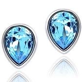925純銀耳環 水晶(耳針式)-精美海洋藍生日母親節禮物女飾品73ag396【巴黎精品】