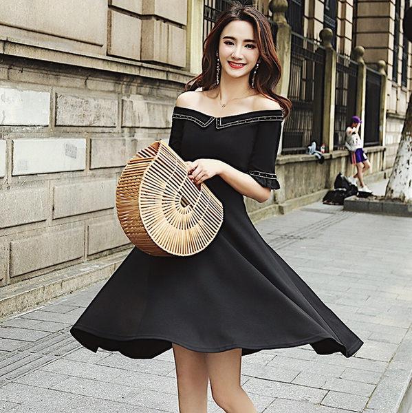 VK旗艦店 韓國風名媛氣質修身一字領顯瘦短袖洋裝