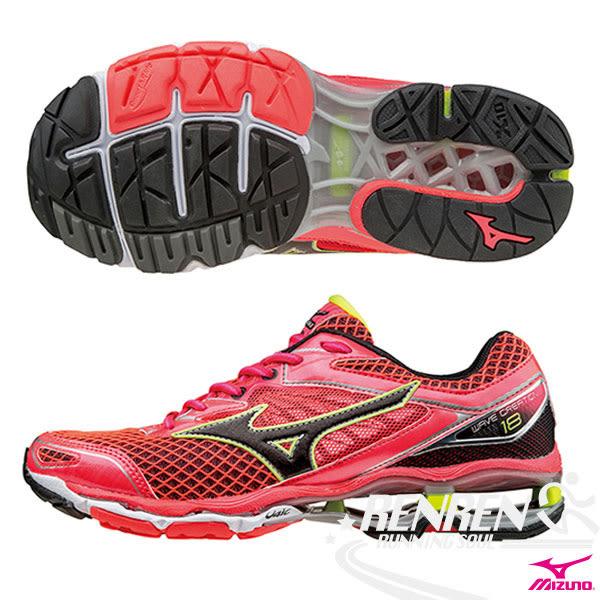 MIZUNO 美津濃  WAVE CREATION 18(W) 女慢跑鞋(紅*黑) 2016旗艦款