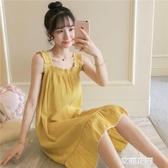 夏季梭織純棉睡衣女生甜美吊帶睡裙夏薄款韓版可外穿公主風家居服『艾麗花園』
