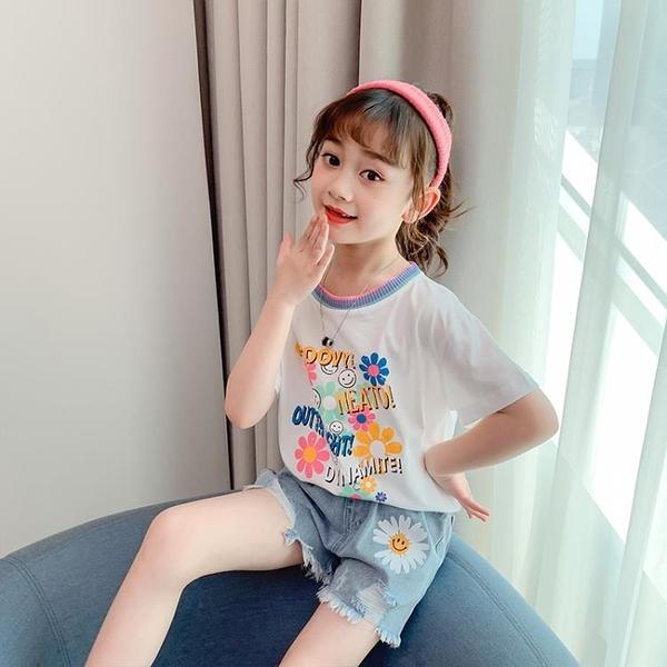女童短袖T恤夏裝2021新款洋氣寬鬆中大兒童印花時尚韓版打底衫潮