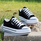 韓版低筒白色帆布鞋女學生厚底鬆糕鞋百搭單鞋板鞋平跟休閒鞋  秘密盒子