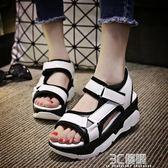 涼鞋 涼鞋女夏平底新款韓版休閒羅馬魔術貼學生鞋鬆糕厚底女鞋鞋子 3C優購
