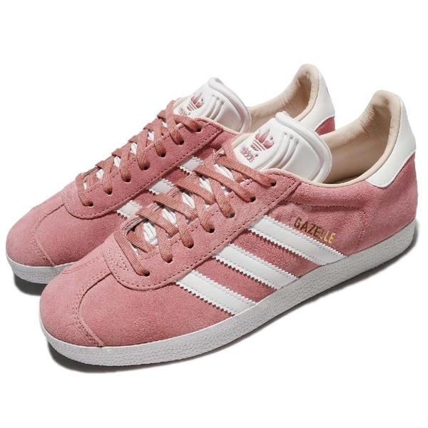【三折特賣】adidas 休閒鞋 Gazelle W 粉紅 桃紅 白 金標 麂皮 復古球鞋 女鞋 【ACS】 CQ2186