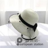 草帽/英倫網紗蕾絲可折疊太陽夏女士遮陽防曬沙灘「歐洲站」
