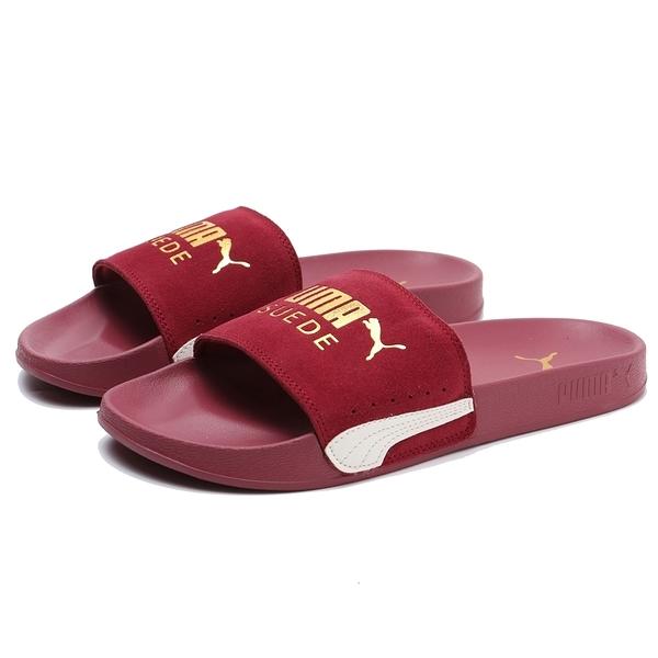 PUMA LEADCAT CHASE 酒紅 金LOGO 麂皮 拖鞋 女 (布魯克林) 37227705