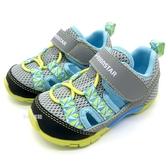 《7+1童鞋》小童 日本 MOONSTAR 月星 透氣 魔鬼氈 機能涼鞋 D452 灰色