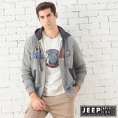 【JEEP】美式精緻圖騰連帽刷毛外套 (灰色)