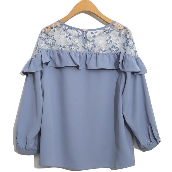 秋冬下殺↘5折[H2O]雙色蕾絲拼接八分袖雪紡上衣 - 卡/粉/淺藍色 #9655008