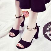 粗跟新款女鞋百搭高跟一字帶扣露趾中空磨砂涼鞋 LQ5230『小美日記』