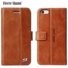 【默肯國際】 Fierre Shann 西槍系列 iPhone 6/6s 6/6s Plus錢包式磁吸側掀手工真皮皮套 立架插卡保護皮套
