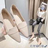 低跟鞋 尖頭單鞋女粗跟2021新款春秋季百搭淺口中跟低跟軟底工作鞋小皮鞋 快速出貨