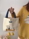 新款夏季迷你鴨子手拎飯盒手提帆布包可愛日系卡通小便當袋女 夏季狂歡