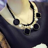 項鍊 歐美個性誇張珍珠幾何墜飾鎖鍊編織雙層項鍊【TS058】 BOBI  02/02