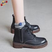 馬丁靴 女新品秋季英倫風學生百搭ins小個子短靴春秋單靴子【快速出貨】