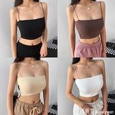 歐美潮流外穿細繩吊帶 純色性感修身背心露肚臍抹胸上衣女