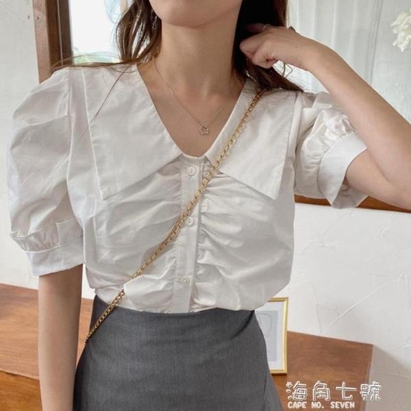 夏季韓版設計感小眾白色襯衫甜美木耳邊泡泡袖襯衣短款法式上衣女 聖誕節全館免運