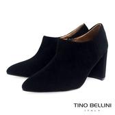 Tino Bellini女人味羊麂皮尖楦高跟踝靴_黑 A79038