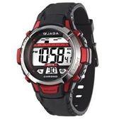 JAGA 捷卡 防水多功能 冷光照明 電子錶 運動錶 學生錶/女錶/男孩/女孩/都適合配戴 M1048A-AG 黑紅