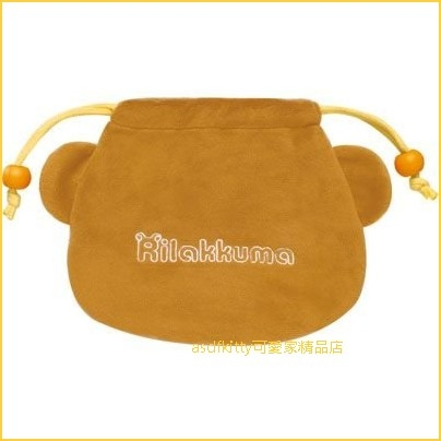 asdfkitty可愛家☆日本san-x拉拉熊大臉造型束口袋/收納袋/置物袋/禮物袋-日本正版商品