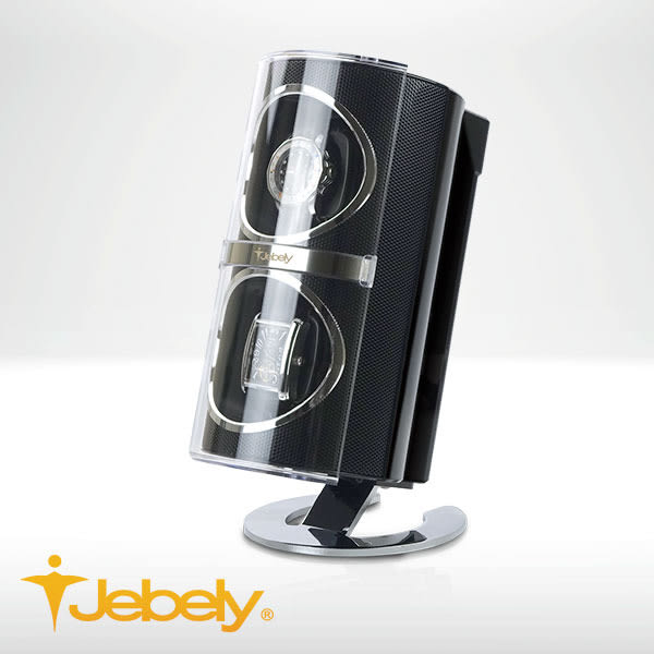 【Jebely】機械手錶自動上鍊盒 複合材質 JBW091 時尚黑 雙手錶轉台 動力儲存錶機 台灣製