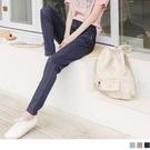 《BA6220》鬆緊腰造型口袋電繡收腹直筒褲 OrangeBear
