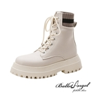 馬汀靴 率性異材質厚底短靴(米白)*Ba...