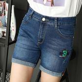 中年短褲女夏媽媽高腰中年婦女牛仔短褲彈力顯瘦4分牛仔熱褲大碼   初見居家