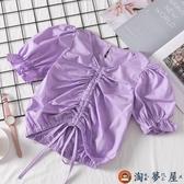 女童短袖t恤兒童泡泡袖襯衫抽繩短款上衣【淘夢屋】