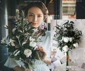 新款仿真橄欖果森繫手捧花婚紗拍攝影道具新娘大束旅拍白玫瑰花束  凱斯盾數位3c