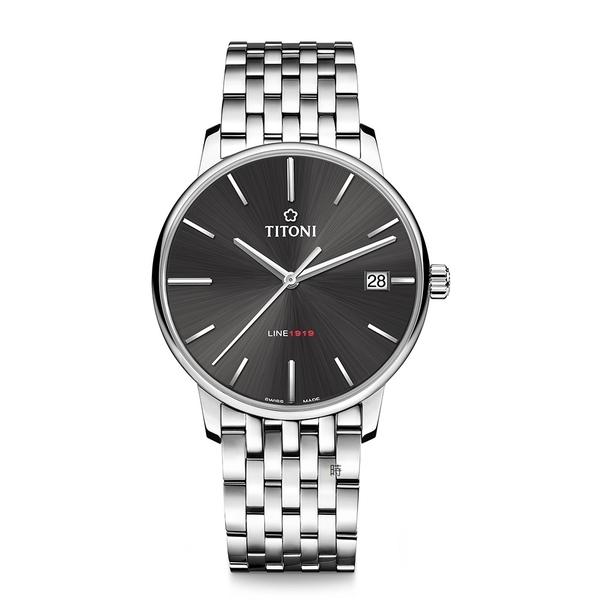 TITONI 梅花 LINE1919 超薄自製機芯 機械錶 83919S-576 炭灰