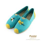 Paidal 蜜蜂與蜂巢樂福鞋-藍